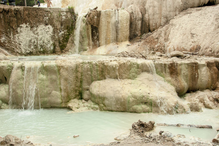 Hot Natural Nature Rock Tuscan Tuscany Geology Italian Italy Landscape Park River Spa Springtime Thermal Bath Val D'orcia Water Waterfall White White Whale