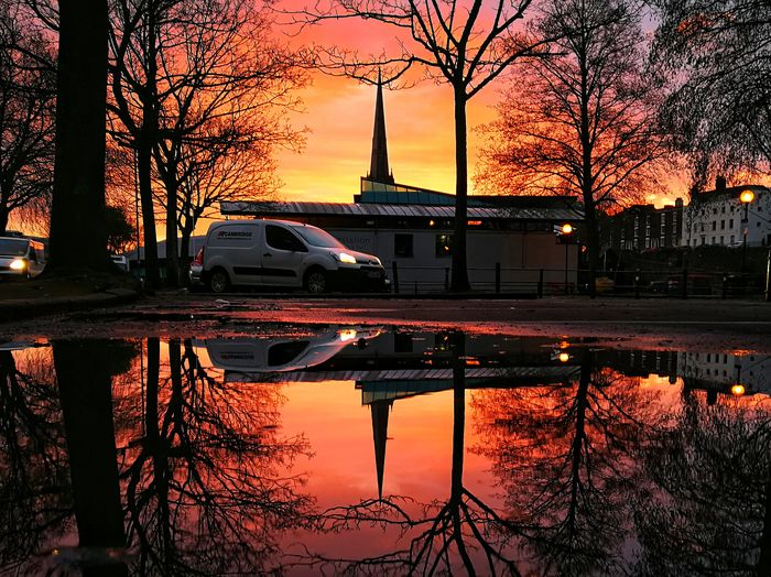 Reflection Water Car Tree Sunset Sky No People Architecture Nature Building Exterior Nautical Vessel Day Outdoors EyeEm Best Shots Nature Huawei Photography Huaweiphotography EyeEm Selects P10 Plus Photography Photooftheday Reflecting Pool Reflection Puddle Symmetry Mobile Photography Colour Your Horizn
