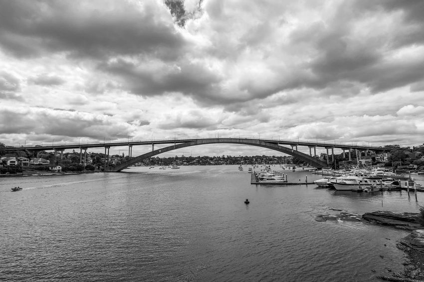 A bridge not far Light And Shadow Black And White Monochrome Cloud - Sky Sky Architecture Day Water Built Structure Outdoors Sea Nature City