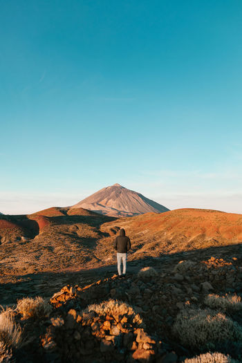 Teide Sky Environment Mountain Landscape Beauty In Nature Scenics - Nature Land Nature Clear Sky Blue Non-urban Scene One Person Tranquil Scene Tranquility Day Remote Travel Outdoors Arid Climate Teide National Park Teide Nature EyeEmNewHere EyeEm Best Shots EyeEm Nature Lover