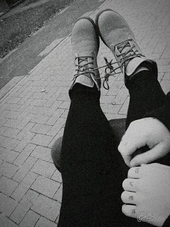 MyBae Blackandwhite Timberlands Love