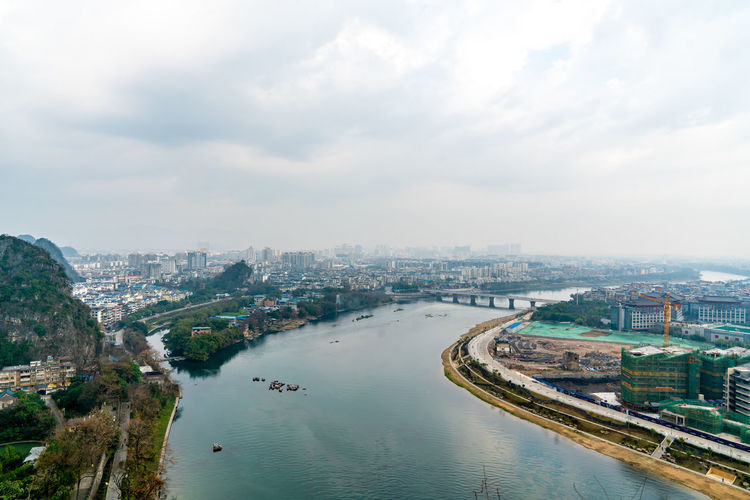 An aerial view of guilin city, guangxi province, china