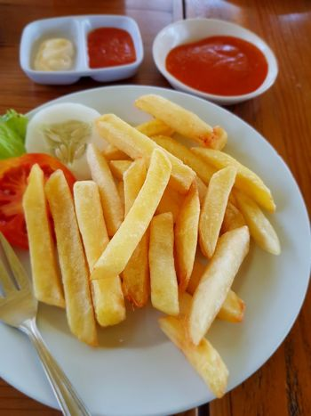 Fast Food Plate Prepared Potato Deep Fried  Ketchup Take Out Food Table French Fries Close-up Food And Drink