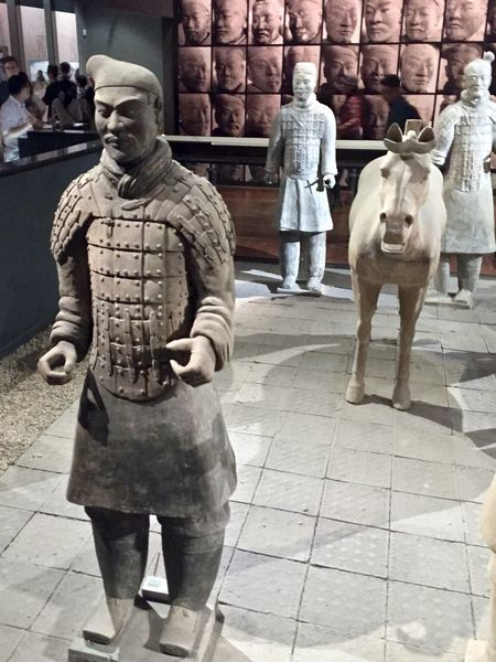 Ancient Artifact Buddhist Casual Clothing Chinese Day Full Length History Horse Lifestyles Mammal Outdoors Pottery Statue Temple Terra-cotta Treasure Warrior