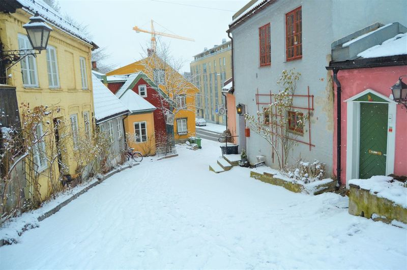 Building Exterior Architecture Built Structure Snow Building Winter House Cold Temperature Residential District Nature Day Covering White Color Window No People Outdoors Street City Road Snowing Oslo Norway Damstredet