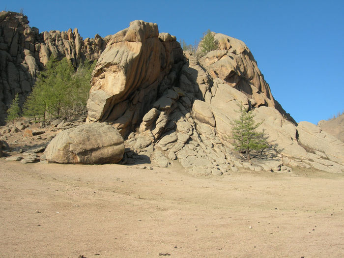 Scenic View Of Rock Formations Against Clear Sky