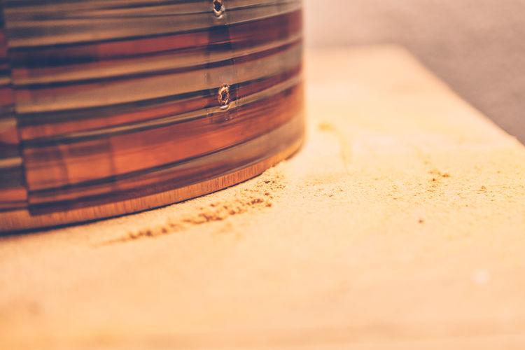 Wood dust on a table