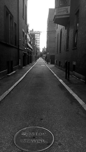 Boston alley. The Way Forward Diminishing Perspective City Vanishing Point Road Empty Road Boston Sewer IPhone Photography