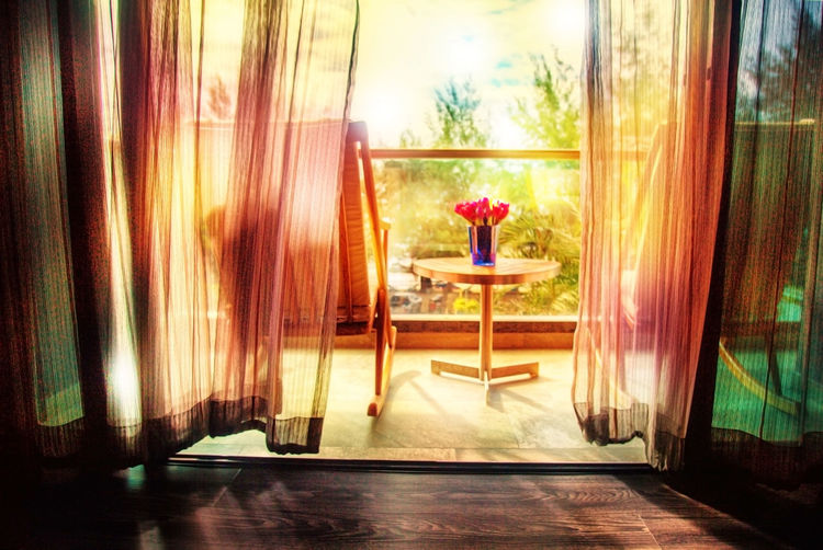 Chair Curtain Day Light And Shadow Lighting Red Flower Rocking Chair Room Terrace Vase Wind Window
