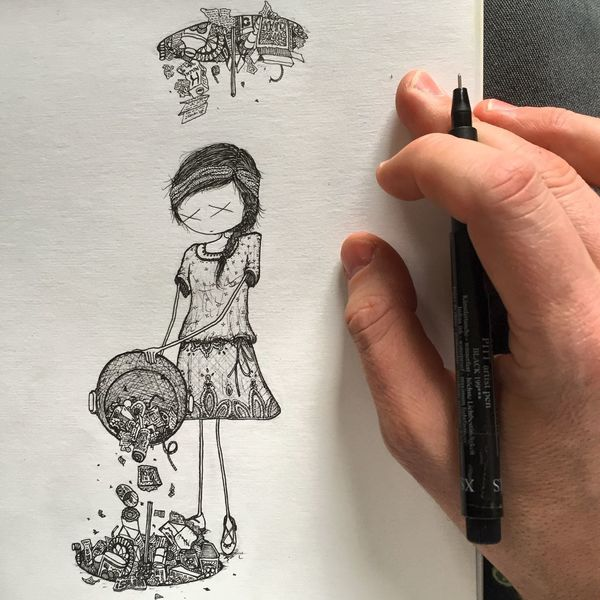 what you give is what you get Girl Environmental Pollution Sketch Savetheplanet