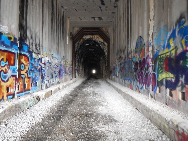 Abandoned Architecture Built Structure Cubical Dark Day Emotion Forgotton Graffiti Lines Lost No People One Point Perspective Railroad Rectangles The Way Forward Transcontinental Railroad Tunnel Tunnel View Urban Decay