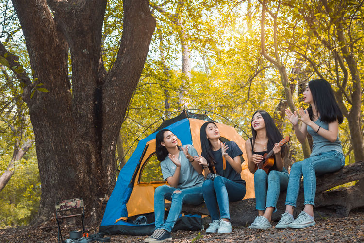 Friends Group of Young Asian women camping and resting at forest playing ukulele,take a photo happy on weekend. Tree Group Of People Friendship Young Adult Plant Leisure Activity Young Women Full Length Togetherness Casual Clothing Nature Fun Sitting Lifestyles Happiness Land Emotion Women Forest Outdoors Teenager Adolescence