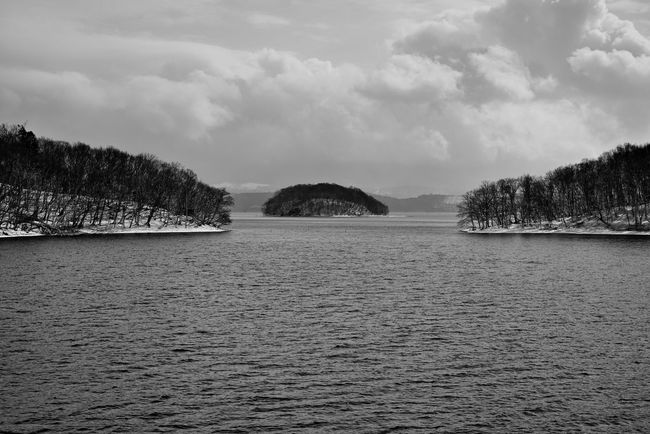 Japan Photos Toya Lake Lake View Lake Landscape Snow Covered Island Winter Travel Bnw Blackandwhite From My Point Of View On The Boat Clouds And Sky Streamzoofamily Ultimate Japan The Great Outdoors - 2016 EyeEm Awards