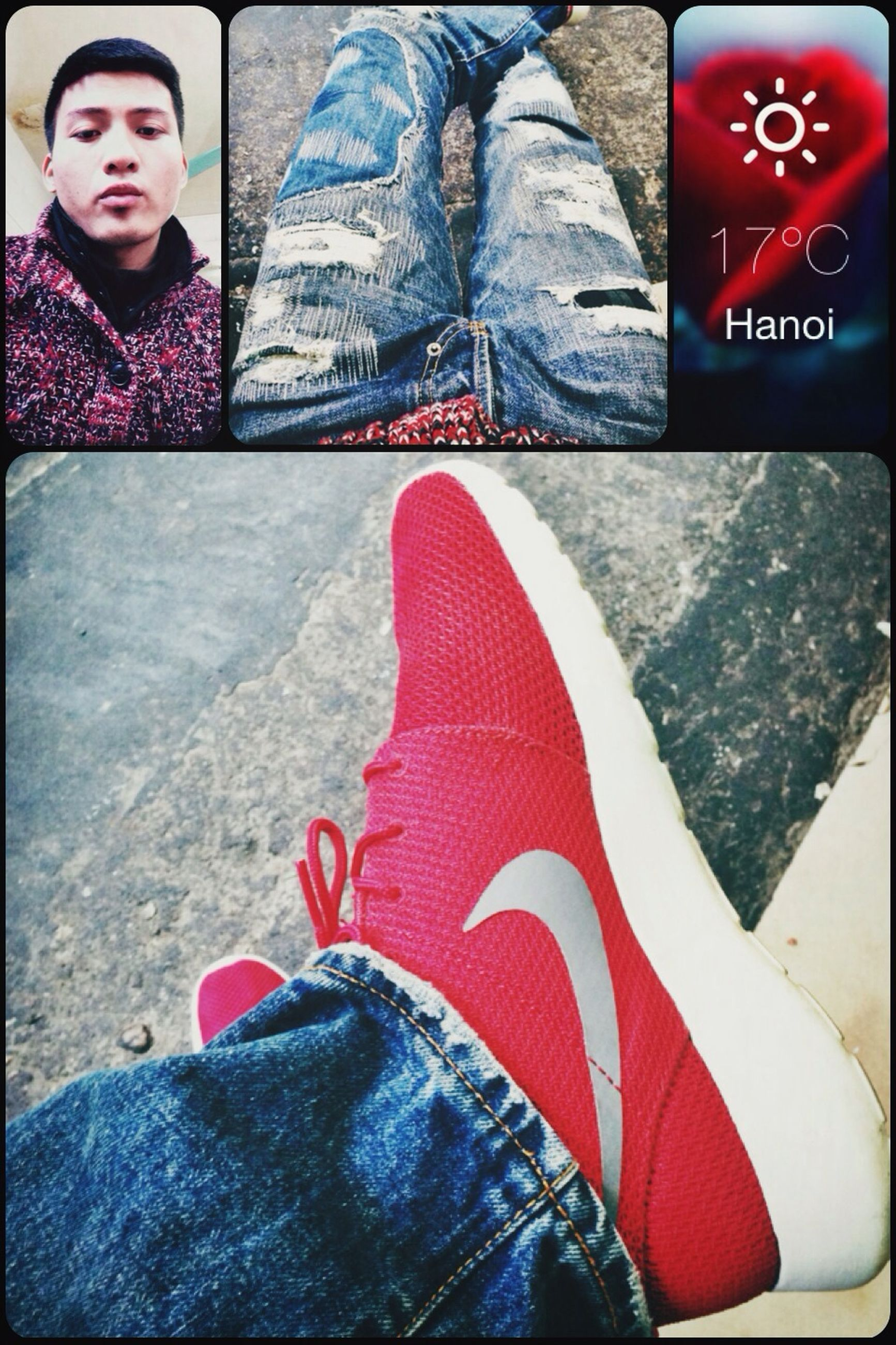 low section, red, shoe, person, standing, lifestyles, text, leisure activity, footwear, high angle view, communication, casual clothing, jeans, men, human foot, close-up, indoors