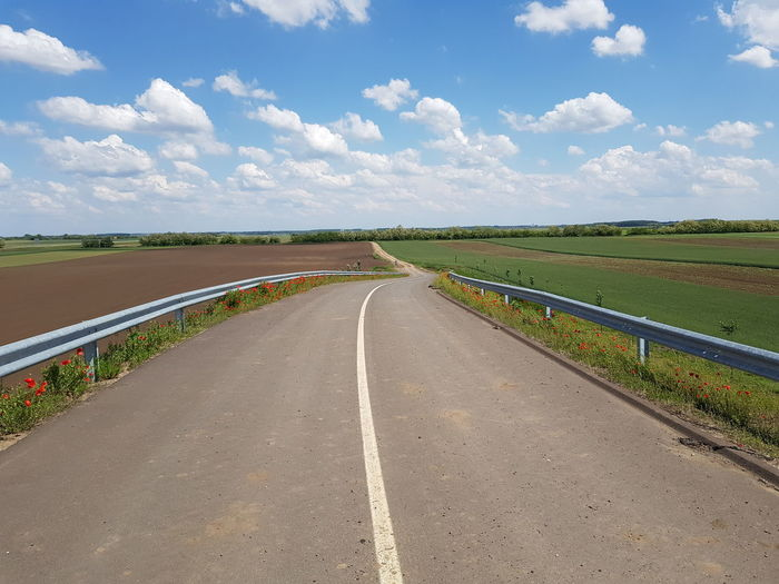 Road Straight Agriculture Blue Rural Scene Sky Landscape Cloud - Sky