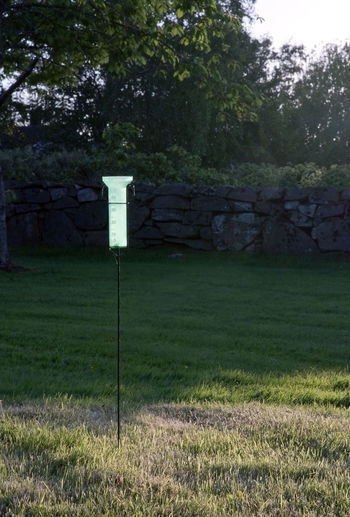 Plastic green rain-gauge in sunny garden. Day Field Grass Growth Nature No People Outdoors Rain Gauge Tree