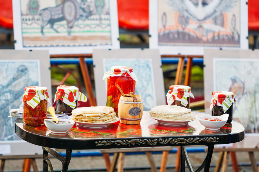 Gomel, Belarus - March 12, 2016: Traditional Belarusian snacks - tomatoes in cans and pancakes Belarus Food And Drink National Snack Tradition Close-up Culture Folk Food Food And Drink Holyday Honey Maslenitsa No People Pankakes Pickles Ready-to-eat Russian Sauce Seaming Shrovetide Table Testy Tomato Traditional