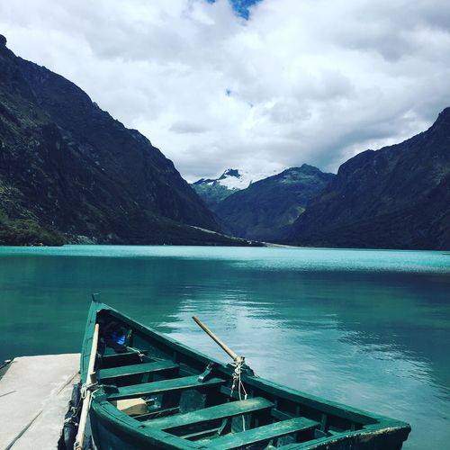 Paradise Boat Mountains Blue Laguna Peru The Great Outdoors - 2017 EyeEm Awards Neighborhood Map Water Mountain Cloud - Sky Beauty In Nature Scenics - Nature Mountain Range Sky Lake Nautical Vessel Nature Tranquil Scene Tranquility Non-urban Scene Transportation No People Environment Travel Outdoors