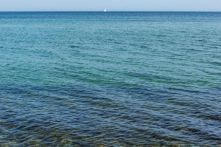 Sailing Blue Boat Horizon Ocean Open Water Sailing Sea Simplicity Water Fine Art Photography Color Palette