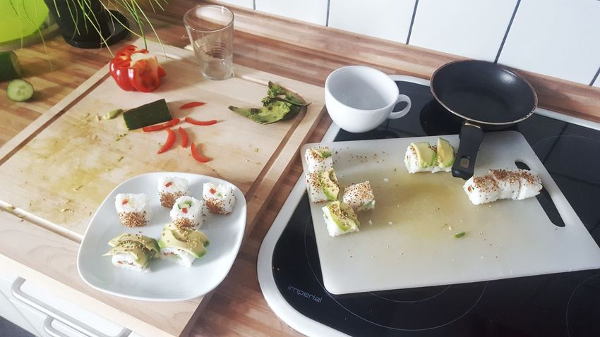 Food Stories High Angle View Plate Food And Drink Food Freshness Healthy Eating Ready-to-eat Sushi Cooking Chef Preparing Food Prepare Rice Avocado Sesam Kitchen Wooden At Home Japanese  Japan Japanese Food The Week On EyeEm