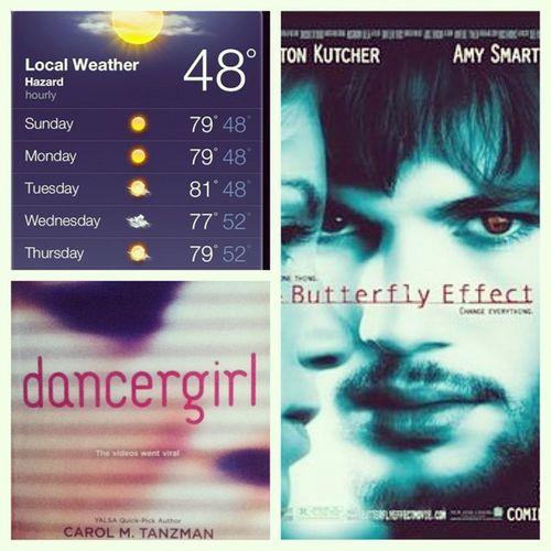 January20 Bookimreading Weather Lastmovieisaw thebutterflyeffect dancergirl ashtonkutcher carolmtanzman amysmart (: