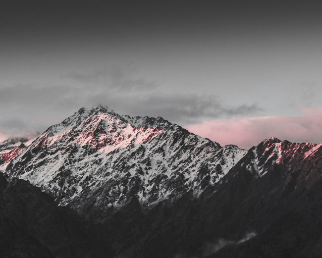 Sunset Sunset_collection Light Dark Moody Moody Sky Dramatic Sky Landscape_Collection Himalayas Mountain Snow Winter Cold Temperature Snowcapped Mountain Mountain Peak Sky Mountain Range Cloud - Sky Landscape Geology Physical Geography Rocky Mountains Natural Landmark Rugged Rock Formation A New Beginning