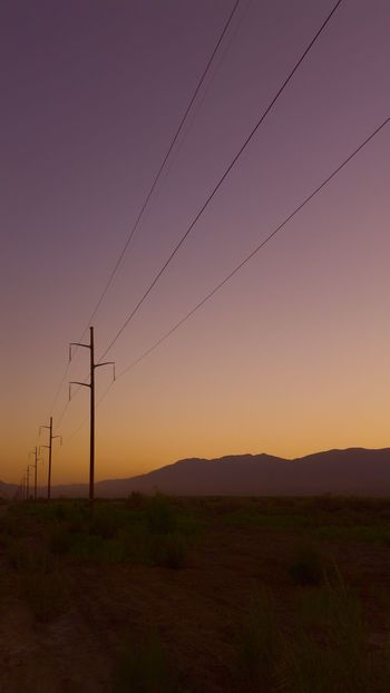 Desert Sunset Cable Power Line  Sunset No People Scenics Sky Nature Landscape Outdoors Telephone Line Tranquil Scene Lonely Quiet