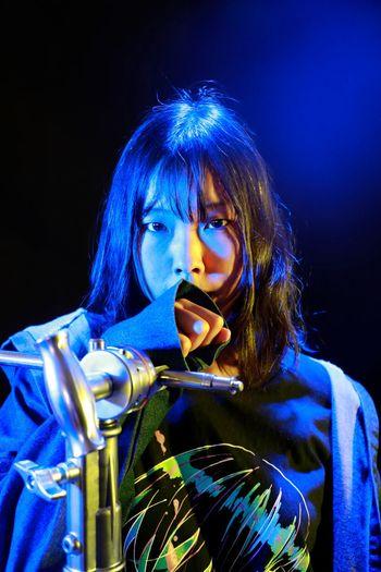 blue Black Background Young Women Musician Beauty Beautiful Woman Musical Instrument Portrait Studio Shot