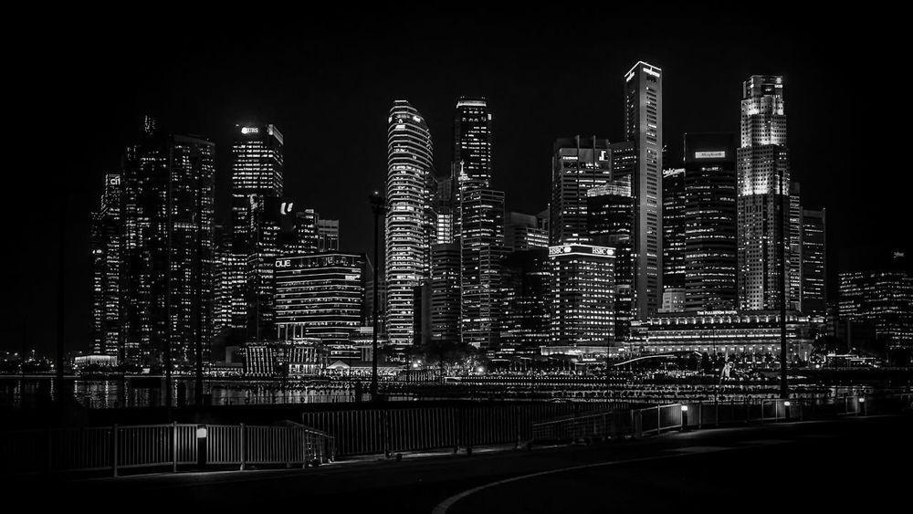 Midnight Skyscraper Blackandwhite Architecture Composition Financial District  City singapore
