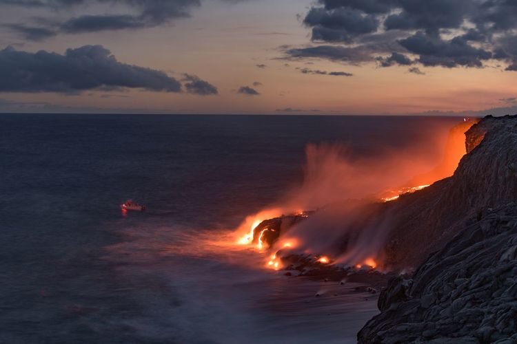 View Of Lava At Big Island During Sunset