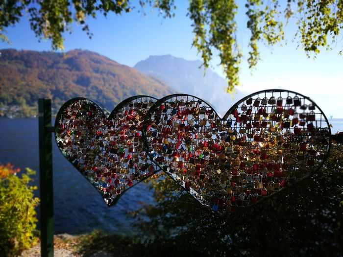 Heart Love Lake Chainheart Heartchain Heart Shape Love No People Valentine's Day - Holiday Outdoors Sky Day Multi Colored Nature