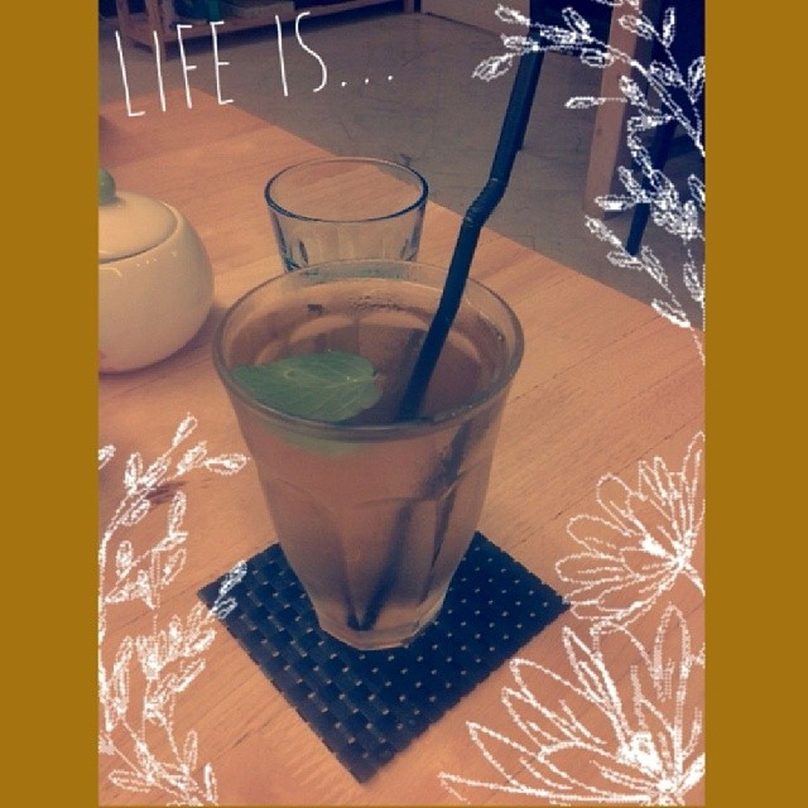 indoors, table, drink, food and drink, refreshment, still life, drinking glass, freshness, glass - material, high angle view, close-up, no people, wood - material, yellow, empty, coffee cup, chair, absence, auto post production filter, restaurant