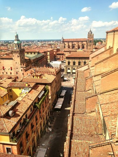 Bologna , from the Campanile of the Petronius Church. La città rossa - red from above
