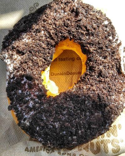 On The Go... Got an Oreo covered donut from Dunkin Donuts when on the go to get groceries. Donuts Oreo Oreodonut Yum On The Go  Dunkin Donuts