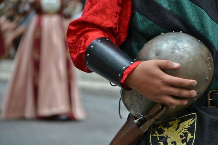 Side View Holding Focus On Foreground Casual Clothing Red Person Day Human Face Abruzzo - Italy Italy Tourism Sulmona Corteo Storico Giostra Cavalleresca Sulmona Medieval Medieval Festival Medieval Knight