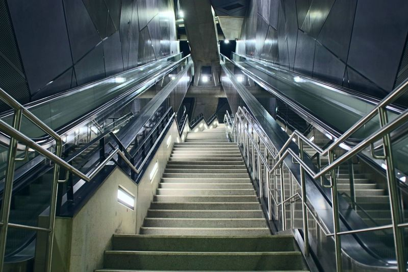 Low angle view of escalator and stairs