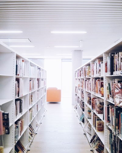 Alley Amidst Bookshelf In Library