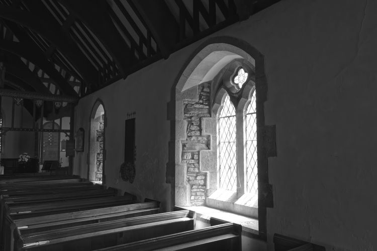 interior St Dygains church Interior Pews Arched Windows Available Light Black And White Church Decorative Glass Llangernyw Religious Place Window View