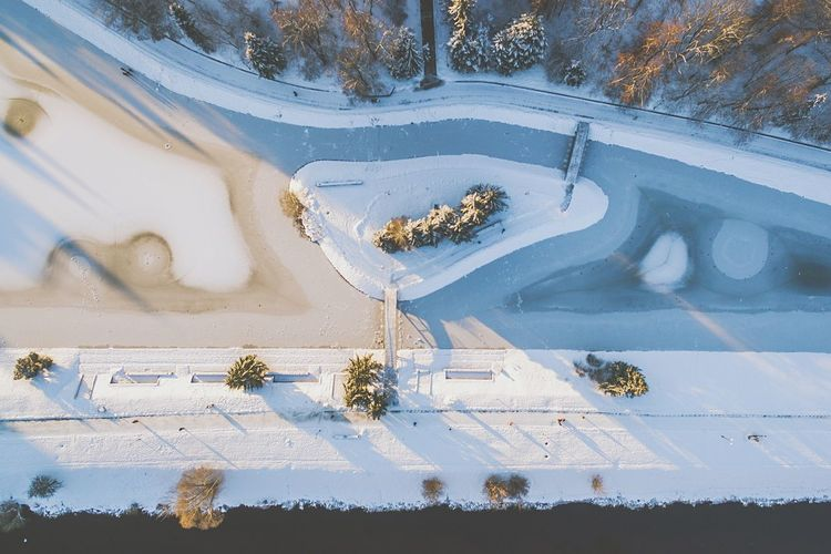 Frozen city | Winter High Angle View Tree Snow Outdoors Cold Temperature No People Day Oxbow Lake River Nevėžis Dronephotography Droneshot Baltic Countries Phantom 3 Advanced Drone  Island Bridge