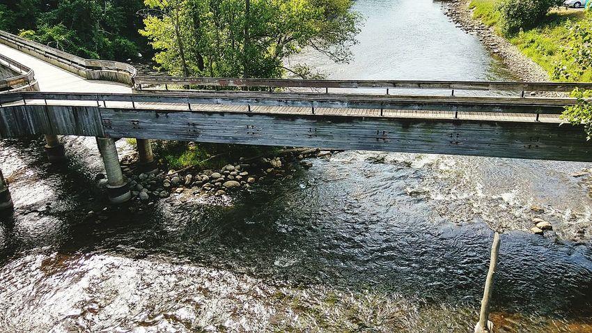 Wooden Bridge Bridge Huron River Taking Photos Water Flowing Ypsilanti Michigan