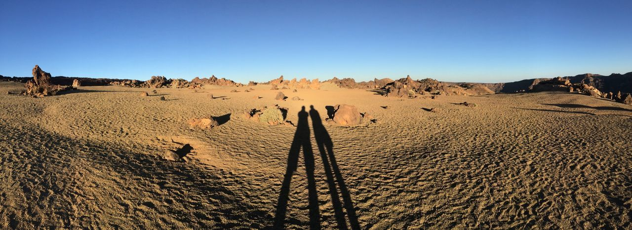 Panoramic View Of Shadow On Sand At Teide National Park