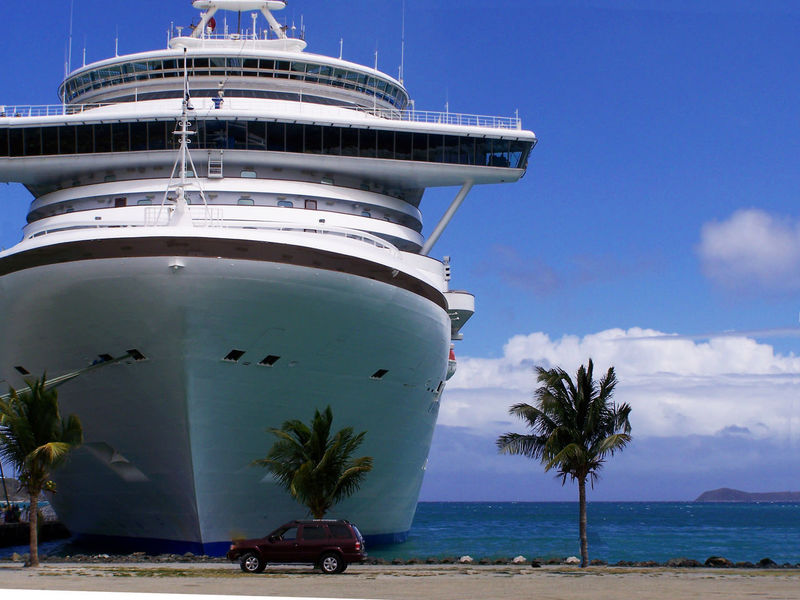 Cruise ship docked at a port in the Caribbeans Cruise Ship Architecture Beach Blue Built Structure Caribbean Cruise Ports Cruise Day Lighthouse Nature Nautical Vessel No People Outdoors Palm Tree Sea Sky Travel Travel Destinations Tree