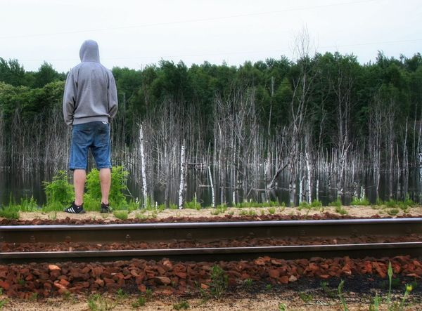 Man on the rails Rails Railway Railroad Poland Things I Like The Great Outdoors - 2016 EyeEm Awards Eyeemphotography