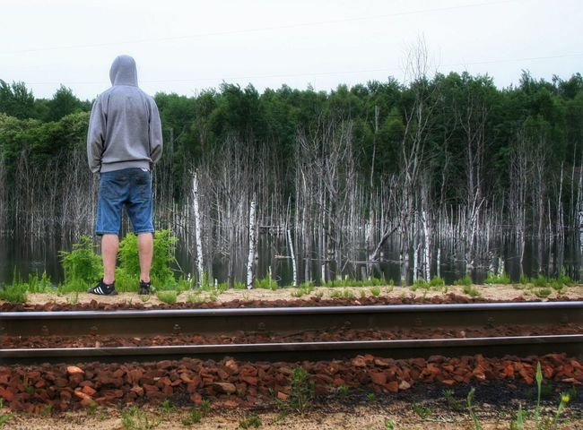 Man on the rails Rails Railway Railroad Poland Things I Like The Great Outdoors - 2016 EyeEm Awards Eyeemphotography