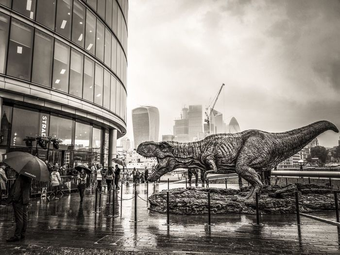 London Lizard Dino Dinosaur Lizard Leica Lens P20 Pro Huawei P20 Pro TRex  Film Promo Mobile Photography Phoneography Black And White Bnw Building Exterior Architecture Built Structure City Sky Building Cloud - Sky Incidental People Rain Wet Water