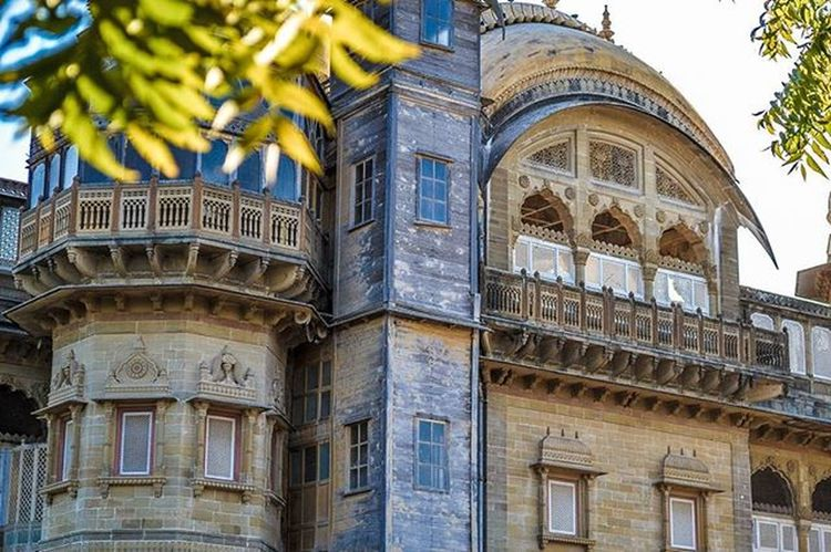 Vijaya Vilas Palace, Mandvi, Gujarat. Built in year 1929. Summerpalace Royalpalace PalacesOfIndia Traveldiaries Photography Taptwice Serenity VibrantHues Indianarchitecture Red Sandstone