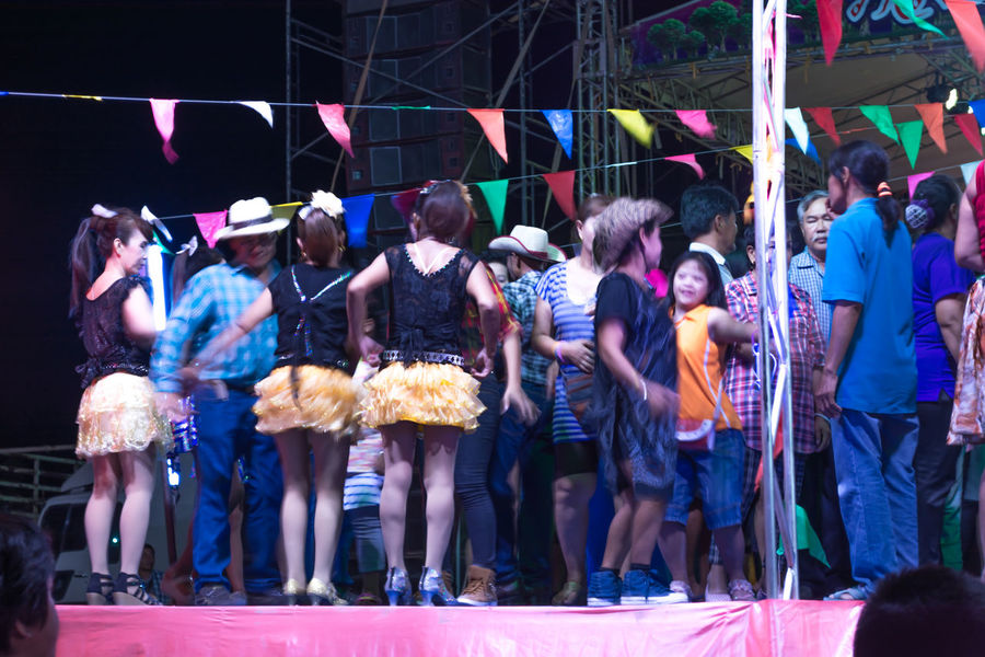 Adult Celebration Enjoyment Full Length Large Group Of People Men Night Outdoors People Performance Real People Standing Togetherness Women Thailand Thai Dance Nakhon Pathom Dancers Dance Show Dance Floor Thailand Music Music Crowd Singer  Dancing