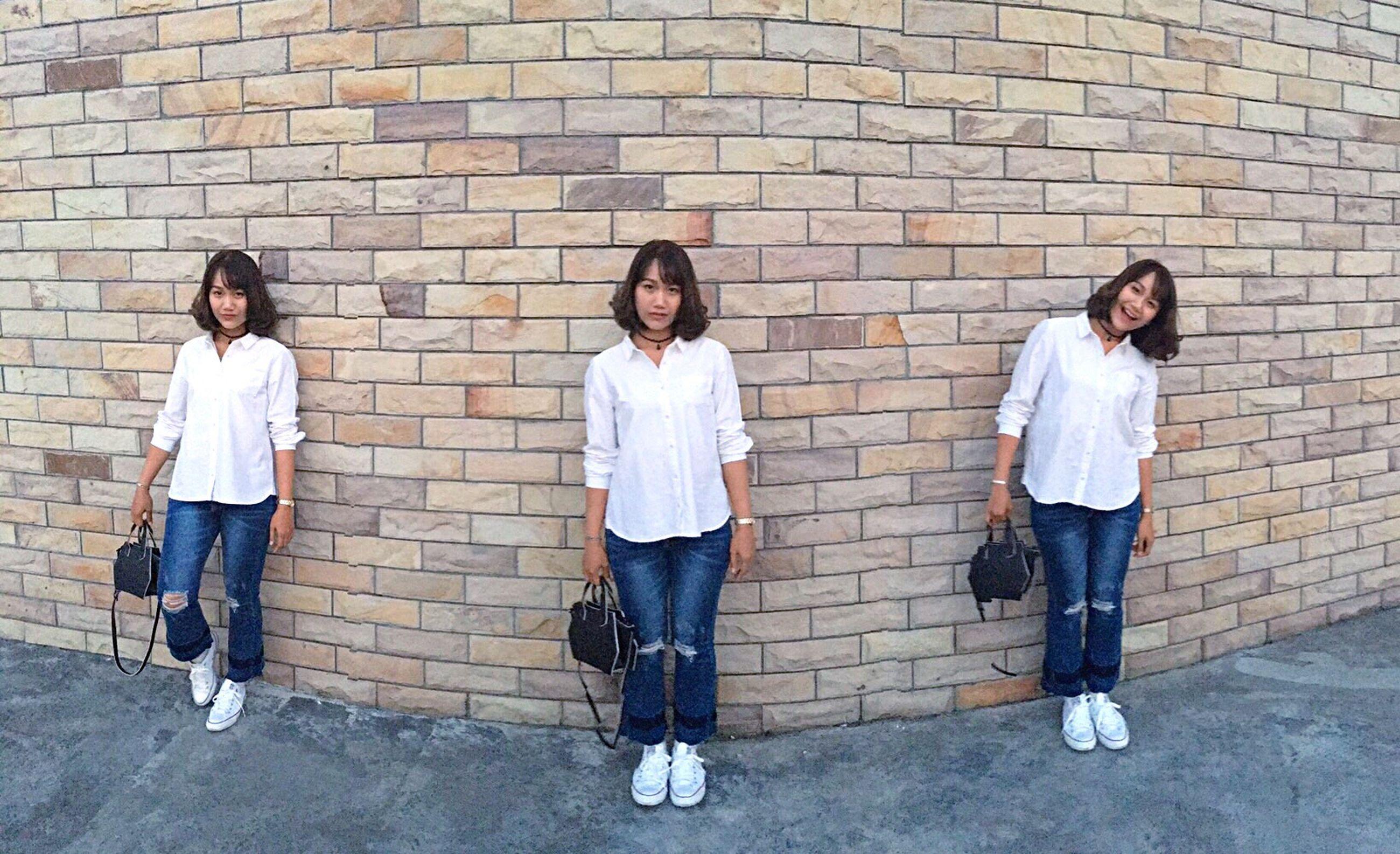 brick wall, child, boys, people, full length, outdoors, childhood, friendship, schoolyard, urban road, day
