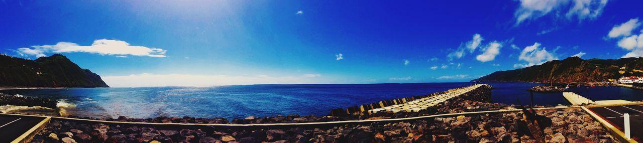 Blue Wave Sunny Day Clouds Ocean View Sea Povoação