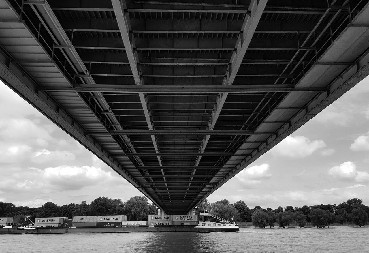 bridge - man made structure, connection, architecture, built structure, river, engineering, transportation, water, cloud - sky, sky, waterfront, below, bridge, outdoors, day, travel destinations, underneath, tree, no people, nature, city